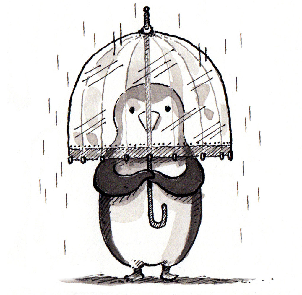 peguin-in-rain